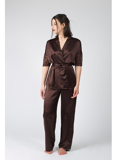 Hays Glamour Saten Kadın Dantel Detaylı 2Li Pijama Takımı Kahve